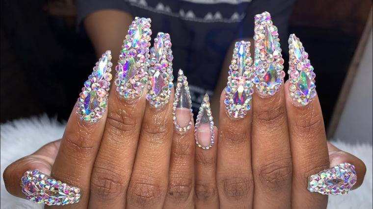 Acrylic Nails Tutorial | Prom Nails | Bling Prom Nails