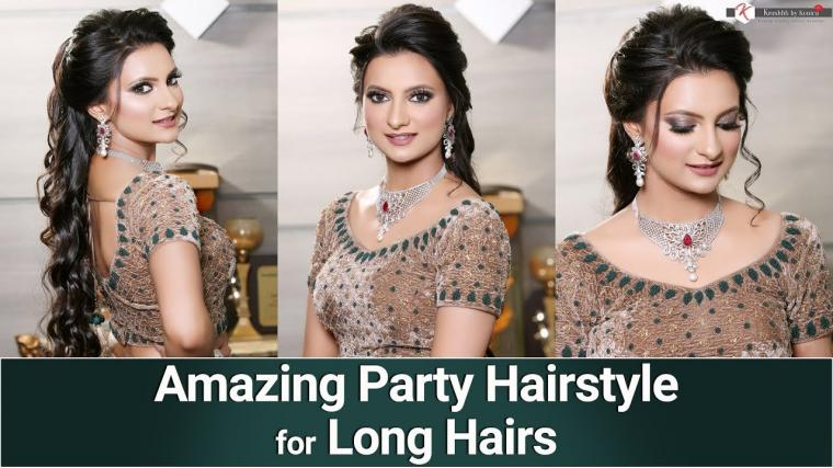 Party Hairstyle Tutorial | Wavy Hair Tutorial | Long Hair Hairstyle | Krushhh By Konica