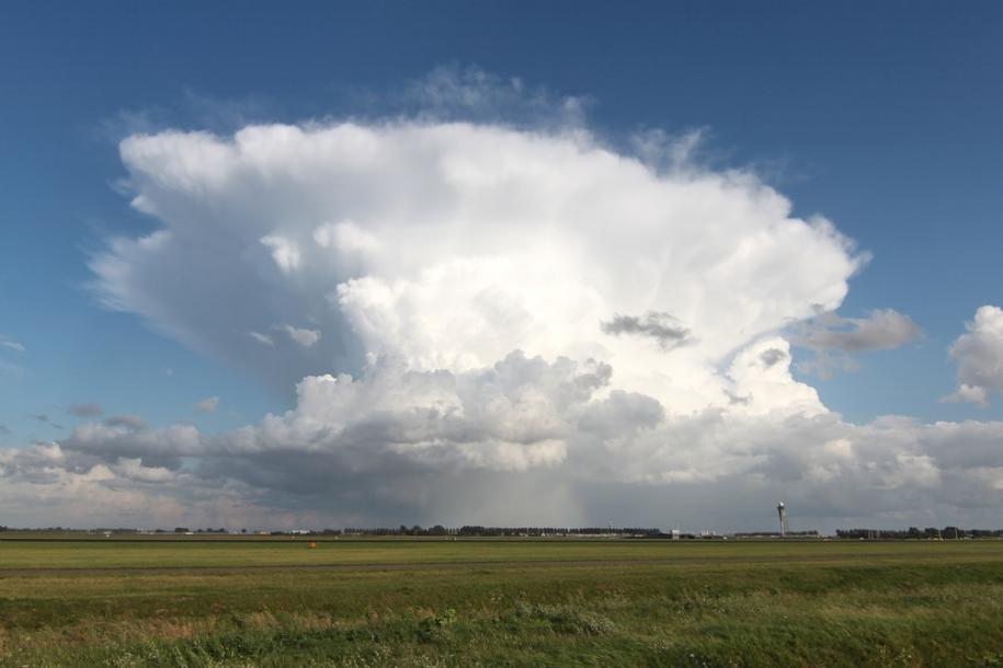 A Cumulonimbus with its characteristic anvil shape.